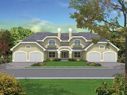 Pasadena Fourplex Multi Family Plan D    House Plans and MoreStyled Multi Family Plan Exhibits Hipped Roofs And Stucco Exterior