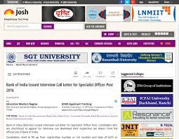 bank of issued interview call letter for specialist officer candidates who are shortlisted to appear for interview can their respective call letters from the official site of bank of