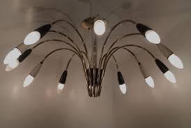 large 12 arm sputnik chandelier in black white