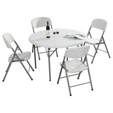 sumo st 45r round solid top folding plastic table with 4 piece white folding plastic