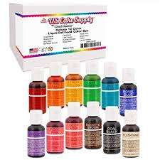 12 Color Cake Food Coloring Liqua Gel Decorating Baking Set Us Cake Supply 75 Fl Oz 20ml Bottles Primary Popular Colors Made In The Usa