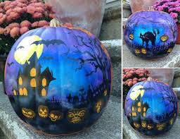 haunted house painted pumpkin for a y from