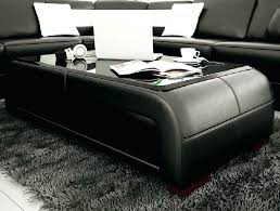 table modern black coffee table bonded leather with glass top tables 3 drawers living room