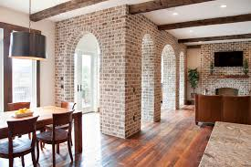 impressive fake brick wall trend charleston traditional living room image ideas with arches brick brick arch