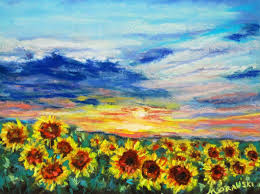 sunflower field of new beginnings by cindy morawsk i spring rains painting and storms i celebrated spring of 2016 with flower painti