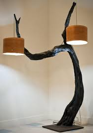 20 beautiful diy wood lamps and chandeliers that will light up your with regard to tree branch floor lamp plans 13