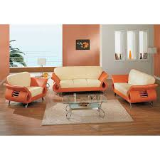 559 beige orange modern living room set