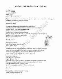 Maintenance Mechanic Resume Elegant 53 Elegant Field Technician