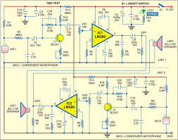 intercom using lm386 electronics for you circuit diagram