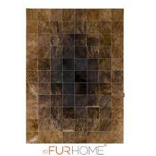 patchwork cowhide rug 20 dark brown beige