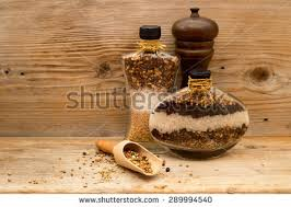 Decorative Pepper Bottles Decorative Glass Bottles Filled Layers Natural Stock Photo 60
