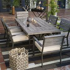 gray outdoor patio set. belham living silba 7 piece envirostone fire pit patio dining set - create an outdoor space to rival your own formal room with the unapologetically gray