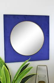 square velvet mirror in navy blue 60cm