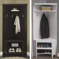 Coat Rack And Shoe Storage Impressive WOODEN CORNER HALL Tree Coat Rack Shoe Storage Cabinet Bench Shelf