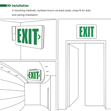 exit sign wiring instructions exit image wiring ul listed single double face led exit sign light torchstar on exit sign wiring instructions