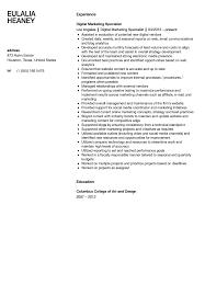Digital Marketing Specialist Resume Sample Velvet Jobs