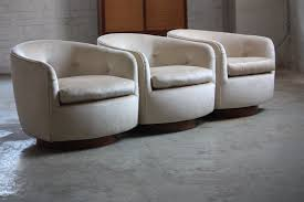 ferocious milo baughman mid century modern swivel rocker barrel club chairs u s a 1970s