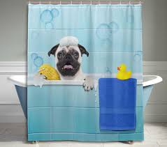 funny shower curtain. Funny Pug Dog Shower Curtain