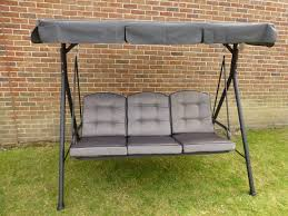 garden swing seat cushions uk. quality 3 seater garden swing seat hammock with deep cushions and adjustable canopy uk o