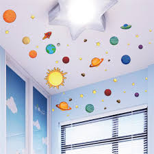 Solar System Bedroom Decor 2016 New Creative Solar System Wall Stickers Plane Wall Paper Kids