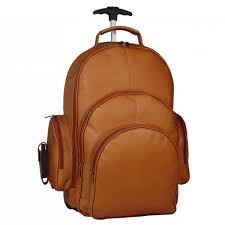 backpack on wheels leather