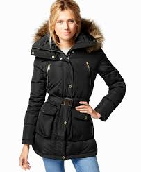 winter coats nyc dkny hooded faux fur trim down coat coats women macy s