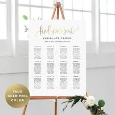 Calligraphy Wedding Seating Chart Seating Chart Lovely Calligraphy Lcg Faux Gold Foil