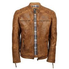 mens genuine real leather biker jacket vintage moto
