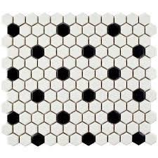 black and white hexagon tile floor. metro hex matte white with black dot 10-1/4 in. x 11 and hexagon tile floor w