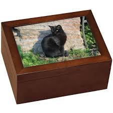 medium wooden cat urn holds photo and shelf