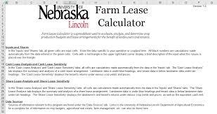 Farm Lease Calculator Farm Table