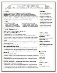 Medical Transcription Resume Examples Medical Transcriptionist