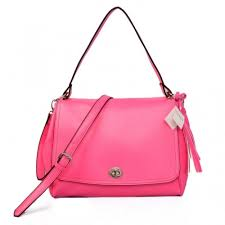 Coach Turnlock Medium Fuchsia Shoulder Bags AYT