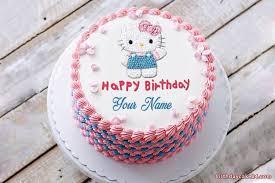 Lovely Hello Kitty Birthday Cake With Name