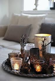 Mooie Winter Decoratie Schaal Op Tafel Met Leuke Lichtjes Kaarsjes