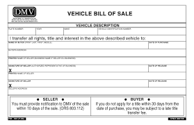 Bill Of Sale Dmv Free Oregon Vehicle Bill Of Sale PDF Word Do It Yourself Forms 6