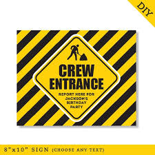 Printable Construction Signs Editable Instant Download Construction Birthday Party Signs