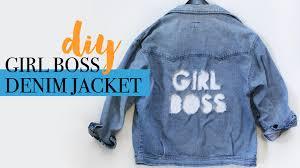 diy girl boss distressed denim jacket