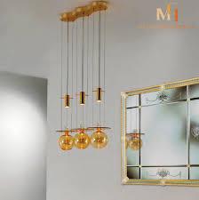 amber glass orb chandelier 3 lights