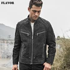 2018 men s real leather jacket pigskin motorcycle leather jacket with zipper closure grey