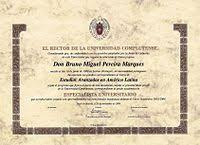 diploma  example of a diploma from a spanish university in b4 size paper