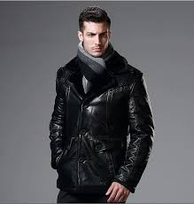 high quality synthetic leather men jackets with very warm faux fur lining 4xl motorcycle leather coat black outerwear hp657