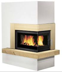 pateo corner fireplace set with 8kw inset wood burning stove