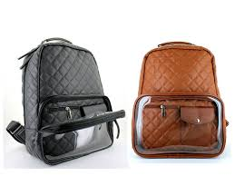 Lany Fashion Backpack Clear See Through Pocket Bookbag Purse Black ... & Lany Fashion Backpack Clear See Through Pocket Bookbag Purse Black Brown  Quilted Adamdwight.com