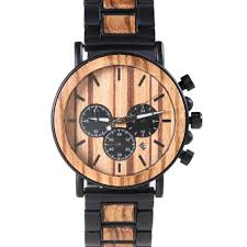 chronograph movement hybrid mens titanium metal and wood watch for men xhron series best mens