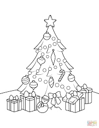 christmas tree with presents drawing. Unique Presents Christmas Tree With Presents Coloring Pages For Kids To Drawing S