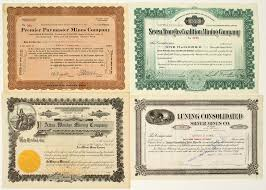 Stock Certificats Nevada Mining Stock Certificates Seven Troughs Wonder Luning
