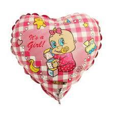 "<b>Шар фольгированный</b> 9"" ""Младенец-девочка"", сердце (1246873 ..."