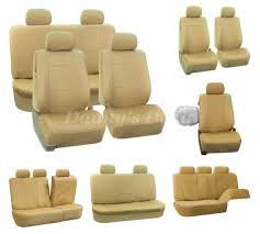 universal cream beige leather look car seat covers set protectors 1 of 12only 1 available