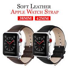 senarai harga mu sen leather watchb apple watch bracelet belt black watchbands genuine leather strap watch band 38mm 42mm iwatch series 3 2 1 terkini di